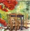 שולחן עם פרח אדום