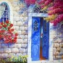 דלת ירושלמית כחולה