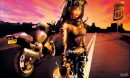 אישה ואופנוע על רקע שק