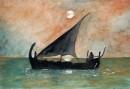 סירת מפרש לאור שקיעה
