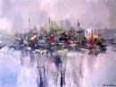 צללית של עיר באגם