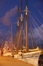 תמונה של מפרשית בנמל בלילה | תמונות