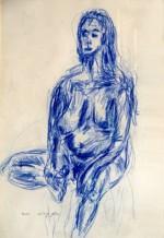 תמונה של אישה בעירום- בעפרון כחול | תמונות