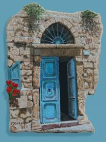 דלת טורקיז ישנה.
