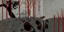 תמונה של נוף באפור ואדום (2 חלקים) | תמונות