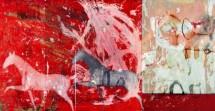 תמונה של סוסים ברקע אדום   תמונות