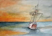 תמונה של ספינה בים לאור שקיעה | תמונות