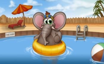 פיל חמוד בבריכה