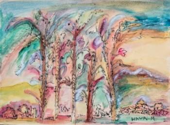 עצים בנוף מדבר