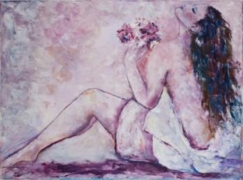 אישה עם זר פרחים