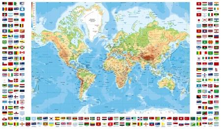 מפת העולם עם דגלי ארצות