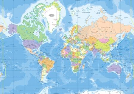 מפת עולם - פוליטי מדיני
