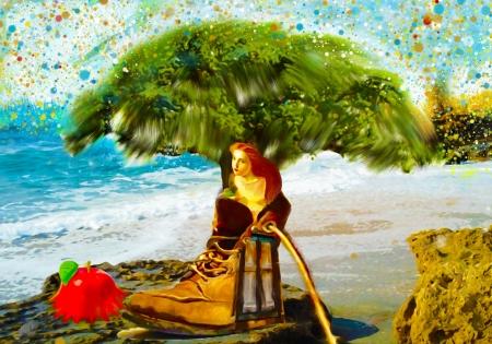 אישה בתוך נעל
