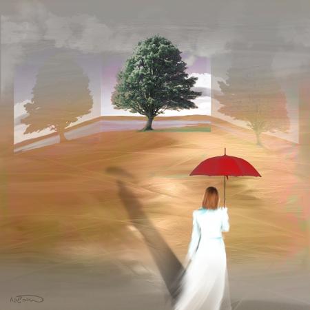 אישה בלבן