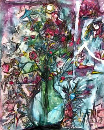 פרחים באגרטל זכוכית