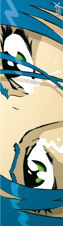 עיני מנגה בכחול טורקיז