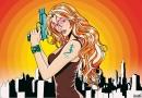 גיבורת על מחזיקה אקדח