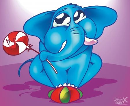 פיל כחול על כדור