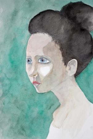 אישה על רקע ירוק