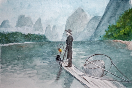 על הנהר עם ציפור