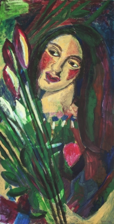 אשה עם פרחים