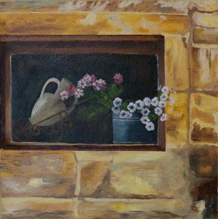 פרחים בחלון