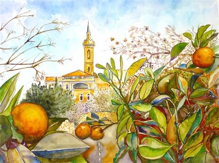 עץ תפוז ומגדל כנסיה