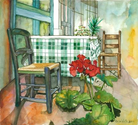 2 כסאות, שולחן וגרניום