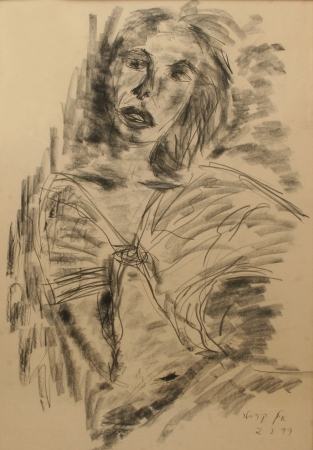 דמות אישה - רישום פחם