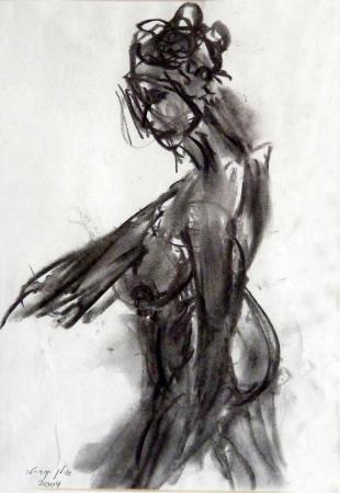 אישה בעירום רישום פחם 1