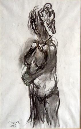 אישה בעירום רישום פחם 2