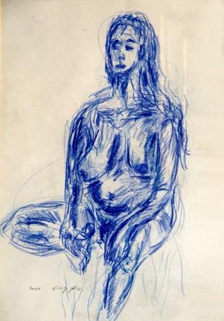 אישה בעירום- בעפרון כחול