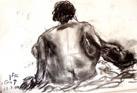 אישה בעירום- רישום פחם