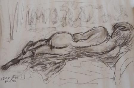 אישה בעירום- רישום 1997