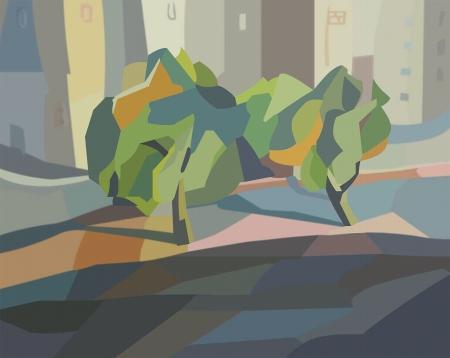 עצים ובתים