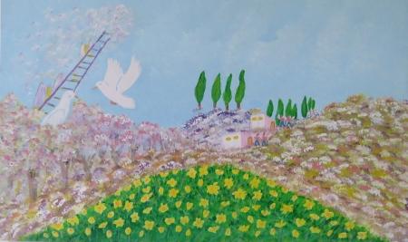 נוף אביב ומלאכים