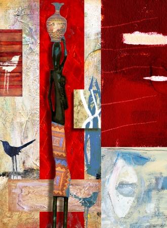 אשה אפריקאית ושתי ציפורים