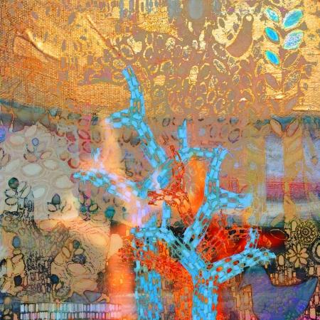 עצי פסיפס ברקע זהב