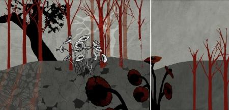 נוף באפור ואדום (2 חלקים)