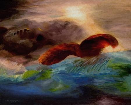הציפור מעל הים