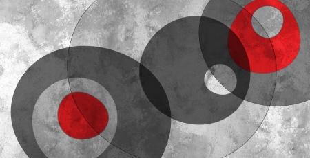 צורות בחלל אפור אדום