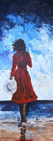בשמלה אדומה