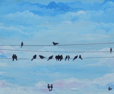 ציפורים על חוט חשמל