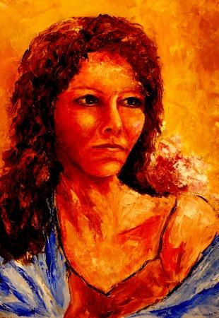 אישה עם צעיף כחול