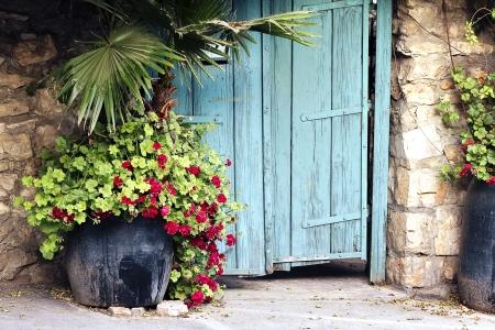 פרחים בכניסה