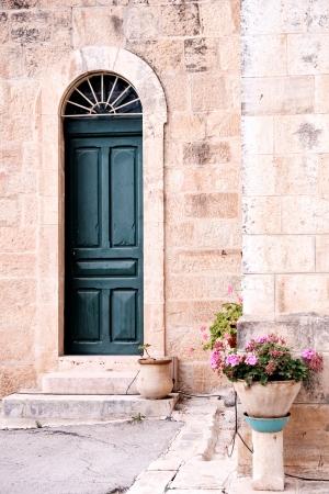 דלת עם עציץ
