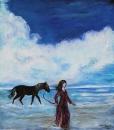 נערה בים עם סוס