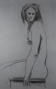 אישה ערומה יושבת