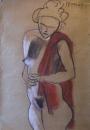 אישה עם צעיף אדום