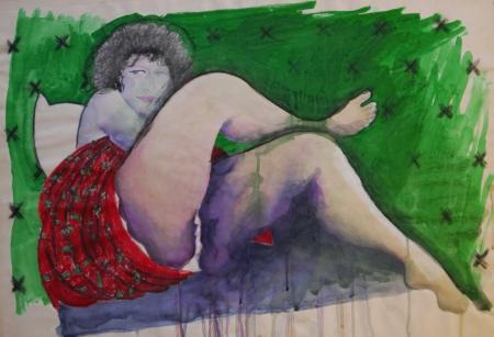 אישה עם רגל למעלה